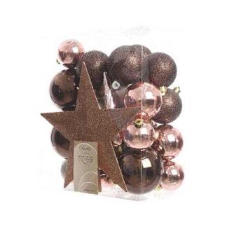 Box 33 palline con puntale Mix Rosa