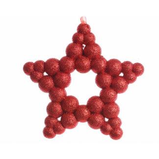 Stella Glitterata Rossa cm 15