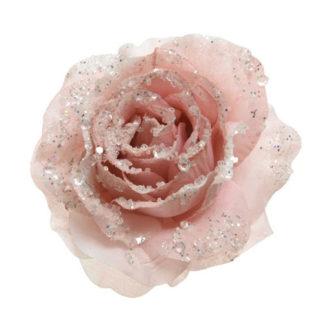 Rosa glitterata Blush Pink con clip