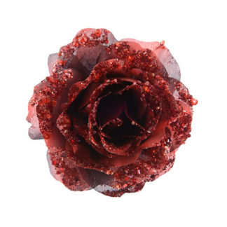 Rosa glitterata Bordeaux con clip