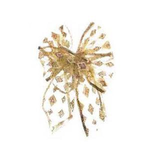 Fiocco di Natale Oro in tulle cm 15