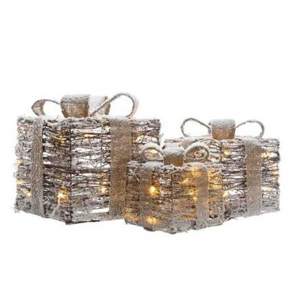 Decoro 3 pacchi regalo innevati con luci a batteria e timer