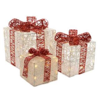 Decoro 3 pacchi regalo con luci led e cavo