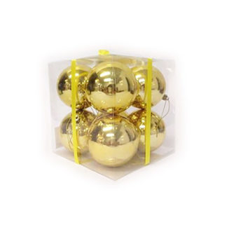 Box 8 palline di Natale oro mm 80