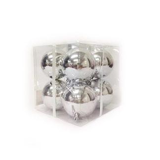 Box 8 palline di Natale argento mm 80