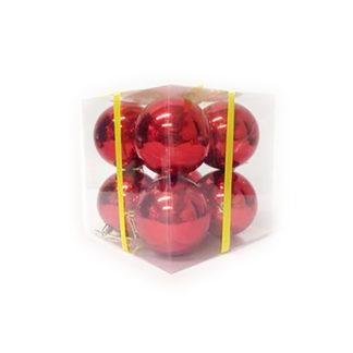 Box 8 palline di Natale rosse mm 80