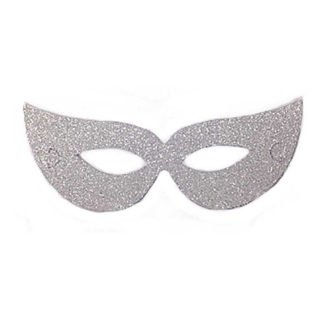 Maschera Glitterata argento in cartoncino set 6 pezzi
