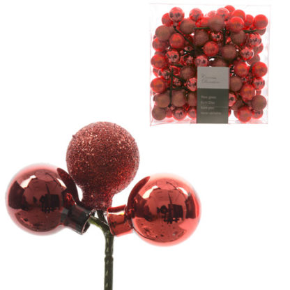 Pick 3 bacche in vetro rosse mm 25 set 12 pezzi