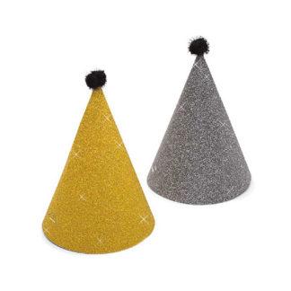Cappellini Mignon glitter oro e ardesia 6 pezzi
