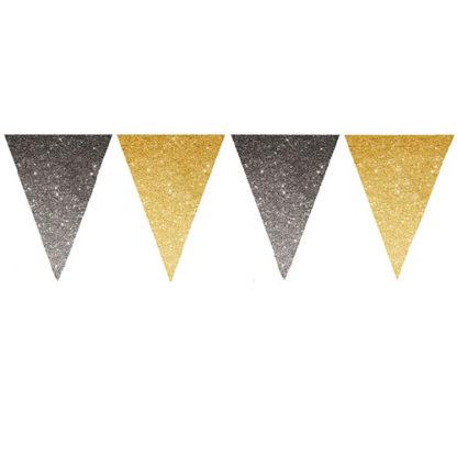 Bandierine glitter oro e nero mt. 3