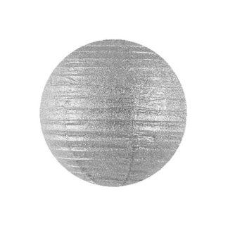 Globo Lanterna in carta glitter Argento cm 35