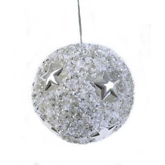 Pallina Perlata bianco e argento cm. 8