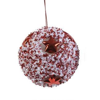 Pallina Perlata bianco e rosso cm. 8