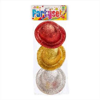 Cappellini Mignon glitter Assortiti conf. 3 pezzi