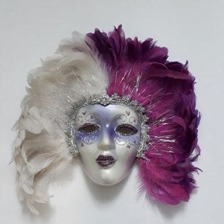 Maschera veneziana da decoro con piume bianche