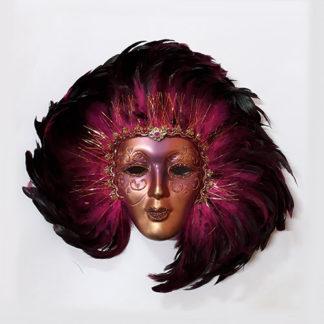 Maschera veneziana da decoro con piume fucsia
