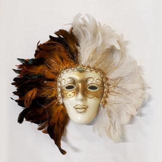 Maschera veneziana da decoro con piume marrone