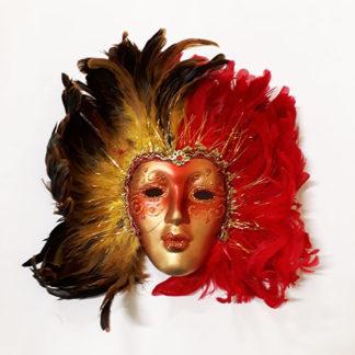 Maschera veneziana da decoro con piume rosse