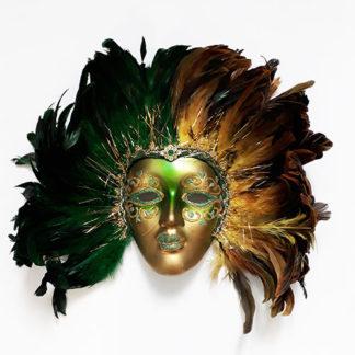 Maschera veneziana da decoro con piume verdi
