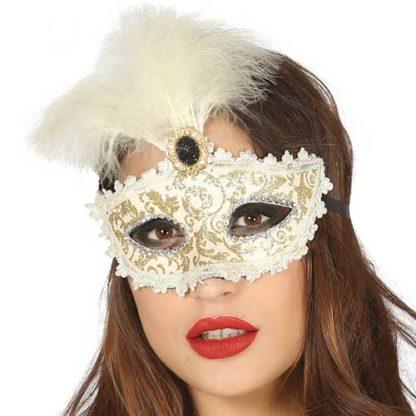 Maschera Veneziana Bianca e Oro con piuma