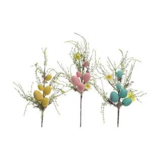 Decoro ramo di fiori con uova e piume cm 55