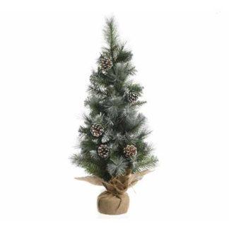 Alberino di Natale innevato con pigne cm 90