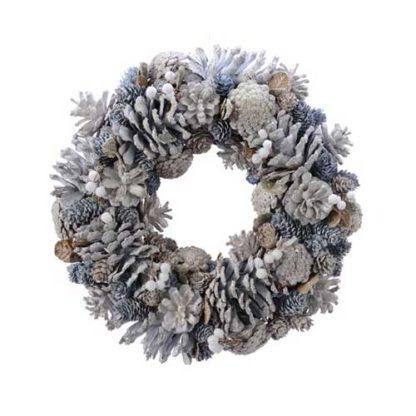 Corona con pigne naturali ghiacciate cm 34