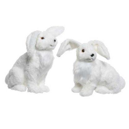 Coniglio bianco innevato cm. 24