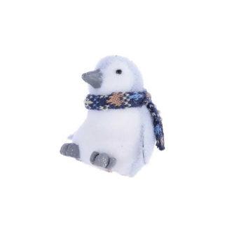 Pinguino glitterato con sciarpa cm. 11