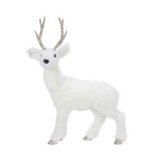 Renna bianca con corna glitter cm. 36