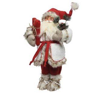 Babbo Natale bianco e rosso con doni cm. 45