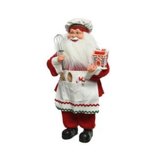 Babbo Natale cuoco bianco e rosso cm. 45