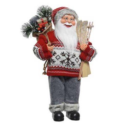 Babbo Natale con sci e doni cm 60