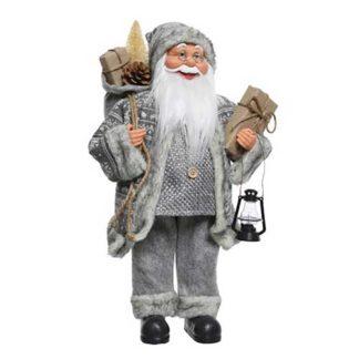 Babbo Natale grigio con Lampada cm 60
