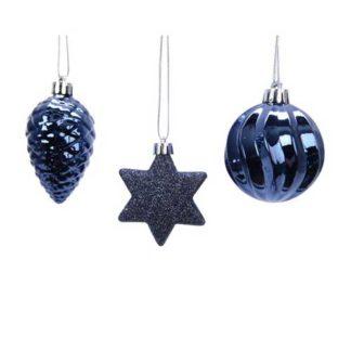 Addobbi per albero di Natale colore night blue set 3 pezzi