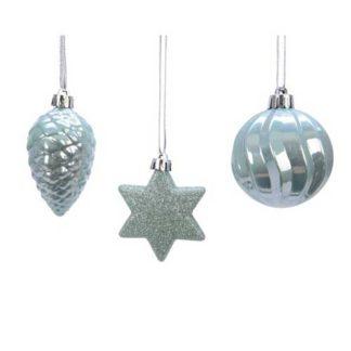 Addobbi per albero di Natale colore eucalyptus set 3 pezzi