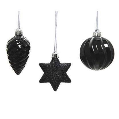 Addobbi per albero di Natale colore Nero set 3 pezzi