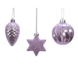 Addobbi per albero di Natale colore lilla set 3 pezzi