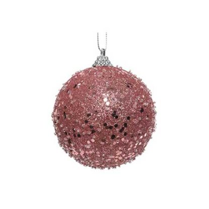 Pallina Natalizia decorata lurex rosa mm 80