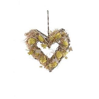 Ghirlanda Pasquale cuore gialla cm. 30