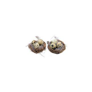 Decoro nido con uova set da 2 pezzi cm 7