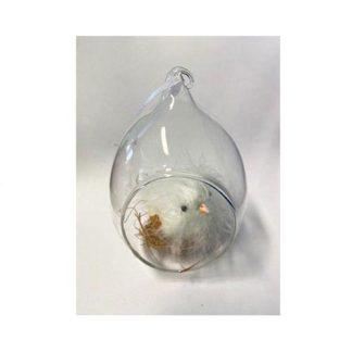 Decoro Pasquale in vetro con pulcino cm. 11