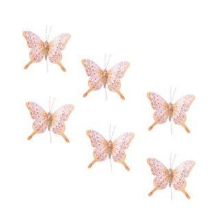 Farfalla Glitter Pesca Set 6 pezzi cm. 8