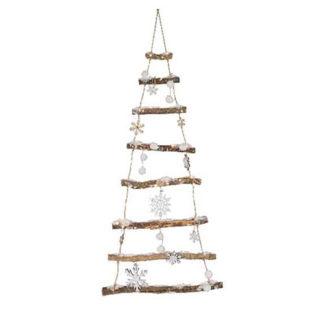 Albero in legno e corda innevato con led cm. 100