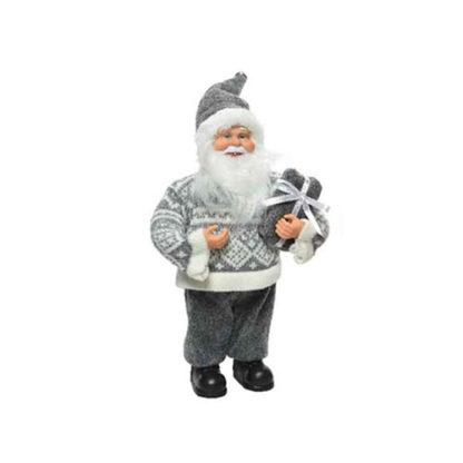 Babbo Natale grigio con pacco regalo cm. 30