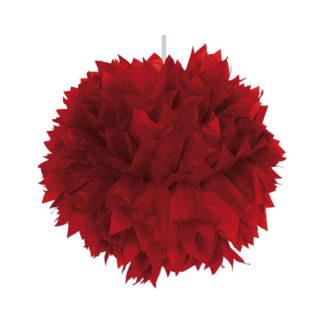 Decoro pon pon in carta rosso cm 30