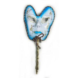 Maschera carnevale blu con bastoncino