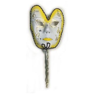 Maschera carnevale gialla con bastoncino