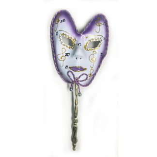 Maschera carnevale viola con bastoncino