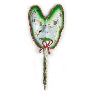 Maschera carnevale verde con bastoncino